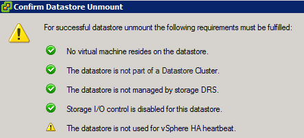 Datastore Unmount Confirmation Heartbeat sm