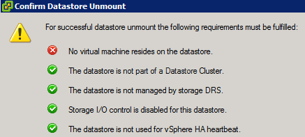 Unmount Datastore Confirmation sm